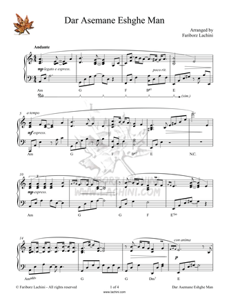 Dar Asemane Eshghe Man Sheet Music