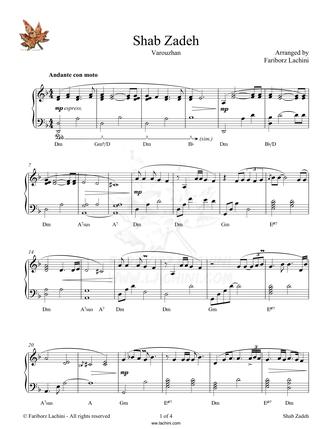 Shab Zadeh Sheet Music