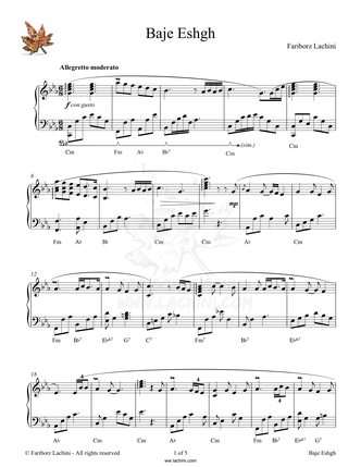 Baje Eshgh Sheet Music