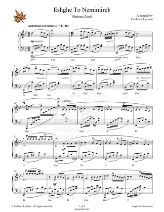 Eshghe To Nemimireh Sheet Music