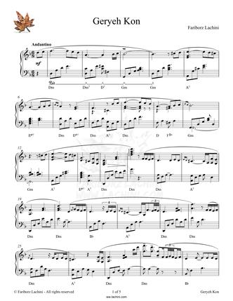 Geryeh Kon Sheet Music