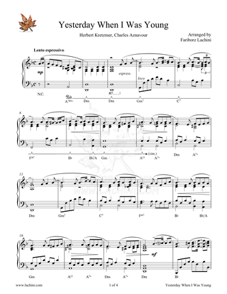 Yesterday When I Was Young Sheet Music