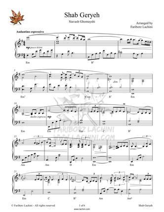 Shab Geryeh Sheet Music