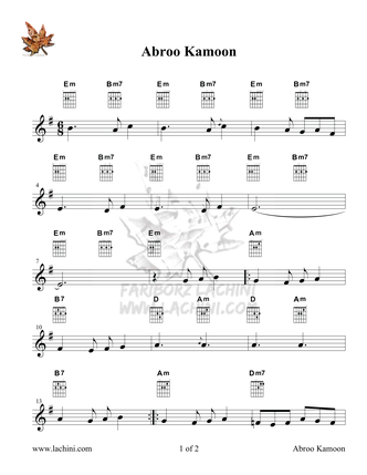 Abroo Kamoon Sheet Music
