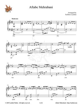 Aftabe Mehrabani Sheet Music