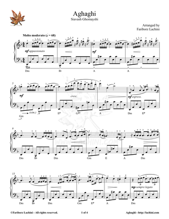 Aghaghi 2 Sheet Music