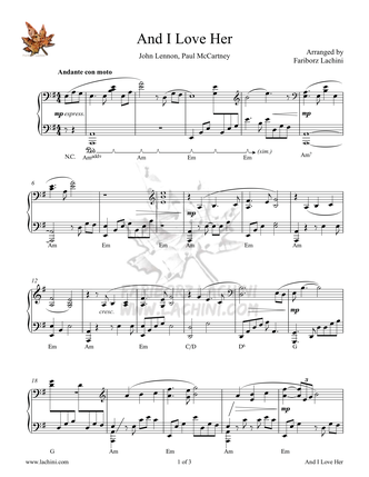 And I Love Her Sheet Music