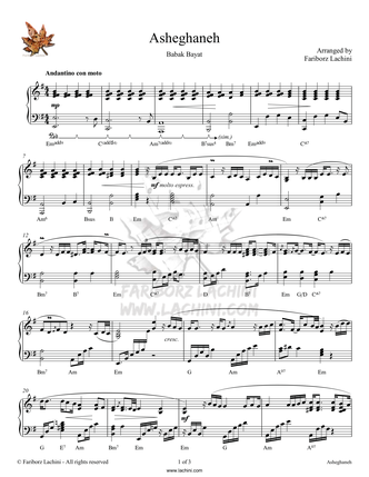 Asheghaneh Sheet Music