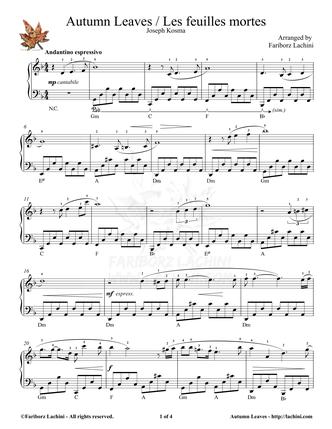 Les feuilles mortes Sheet Music