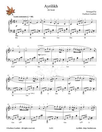 Ayrilikh 2 Sheet Music