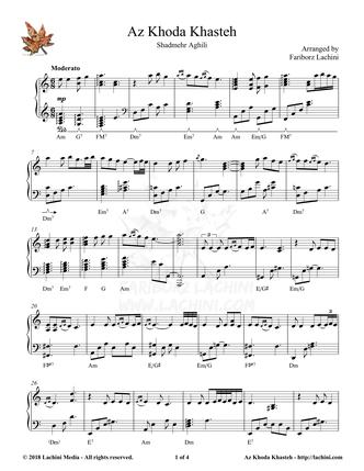 Az Khoda Khasteh Sheet Music