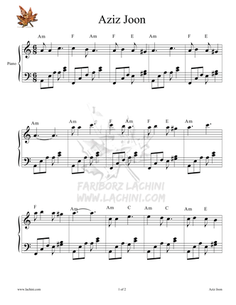Aziz Joon Sheet Music
