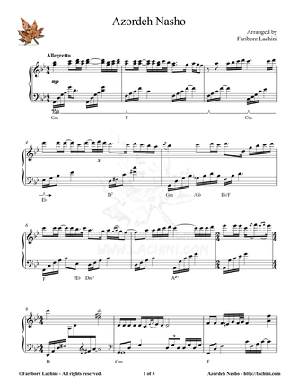 Azordeh Nasho Sheet Music