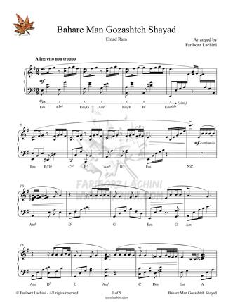 Bahare Man Gozashteh Shayad Sheet Music