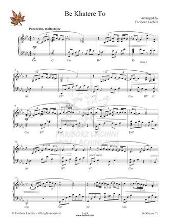 Be Khatere To Sheet Music