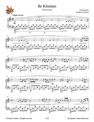 Be Khialam 2 Sheet Music