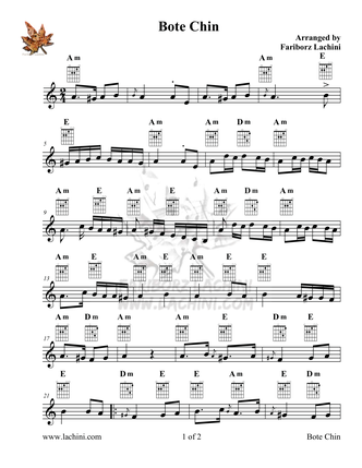 Bote Chin Sheet Music