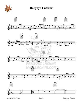 Daryaye Entezar Sheet Music