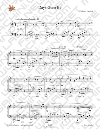 Days Gone By  Sheet Music