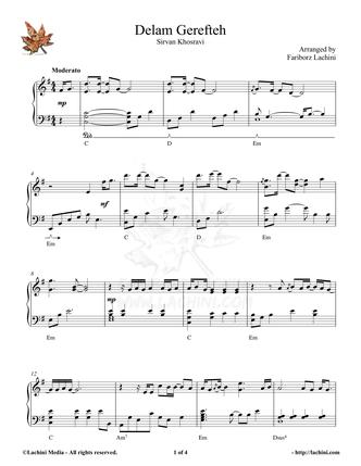 Delam Gerefteh Sheet Music
