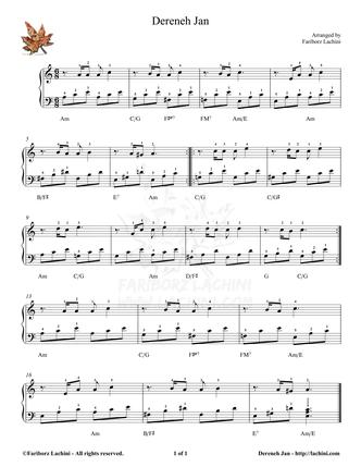 Dereneh Jan Sheet Music