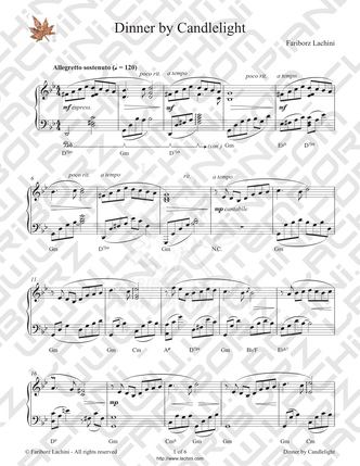 Dinner By Candlelight Sheet Music