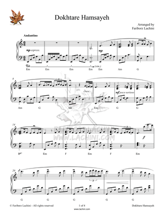 Dokhtare Hamsayeh Sheet Music