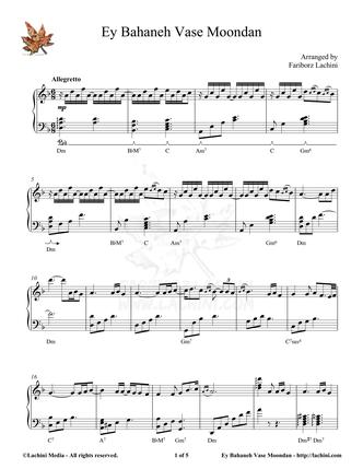 Ey Bahaneh Vase Moondan Sheet Music