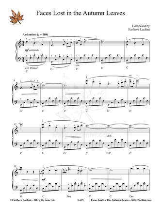 Faces Lost In The Autumn Leaves Sheet Music