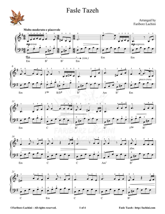 Fasle Tazeh Sheet Music