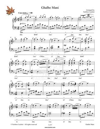 Ghalbe Mani Sheet Music