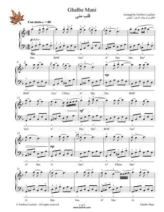 Ghalbe Mani Ghalbe Mani Sheet Music