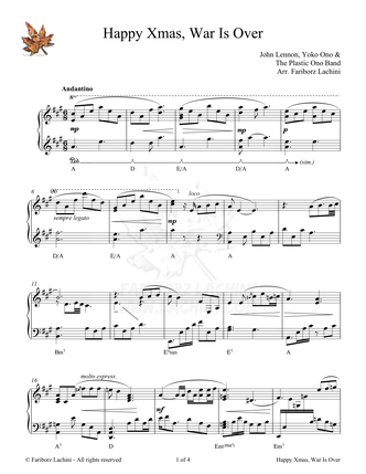 Happy Christmas (War Is Over) Sheet Music