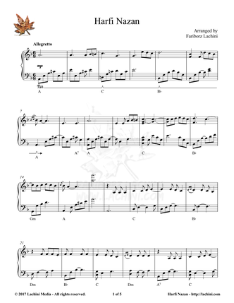 Harfi Nazan Sheet Music