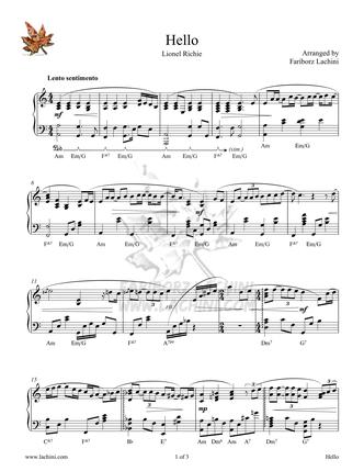 Hello - Piano Sheet Music