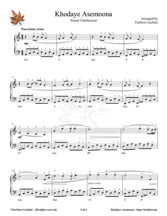 Khodaye Asemoona Sheet Music