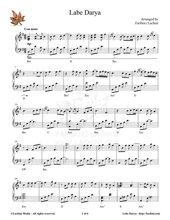 Labe Darya Sheet Music