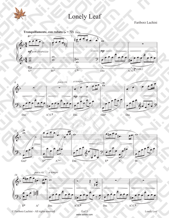 Lonely Leaf Sheet Music