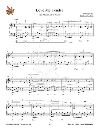love me tender piano sheet music. Black Bedroom Furniture Sets. Home Design Ideas