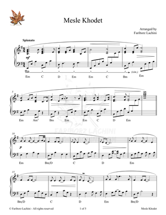 Mesle Khodet Sheet Music