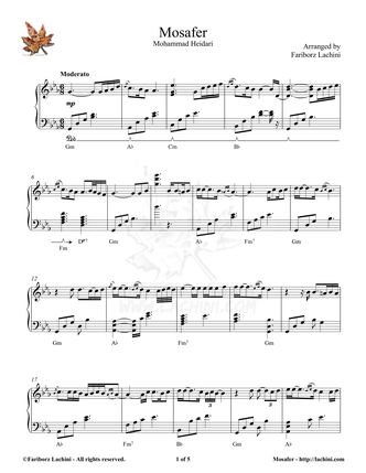 Mosafer Sheet Music