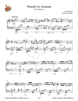 Nameh Az Aseman Sheet Music