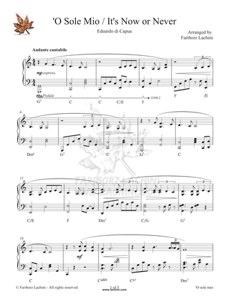 O Sole Mio - Its Now Or Never Sheet Music