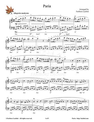 Paria Sheet Music