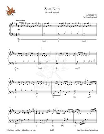 Saate Noh Sheet Music