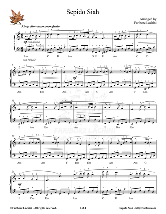 Sepido Siah Sheet Music