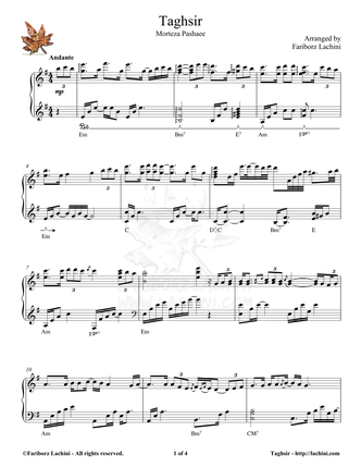 Taghsir Sheet Music