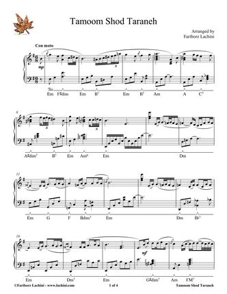 Tamoom Shod Taraneh Sheet Music