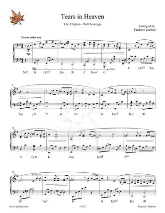 Tears in Heaven Sheet Music