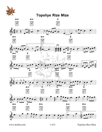 Topoliye Rize Mize Sheet Music